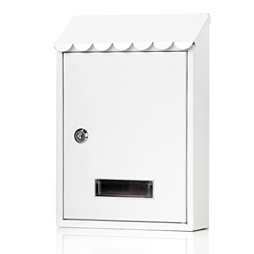 Cape Cod Wall Mount - Mailboxes Wall Mount with Key Lock - Jssmst Small Mail Boxes Horizontal, 12.2 x 8.4 x 3.3 Inch, White,SM-3304L