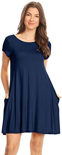 (Simlu Womens Casual Short Sleeve T Shirt Dress Flowy Tunic Dress with Pockets - USA Navy Large)
