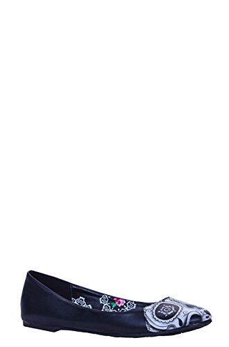 Pugno Di Ferro Womens Black Peek A Boo Flat Shoes