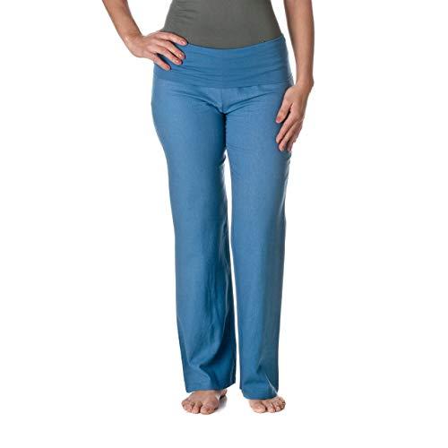 Love Tree Women's Fold-Over Waist Linen Pants, Denim Blue, X-Large (Women For Linen Pants Color)