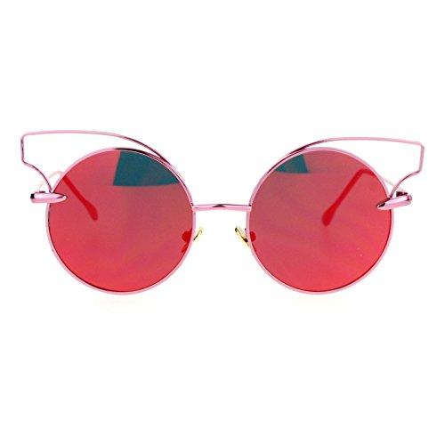 SA106 mirrored Mirror Flat Lens Metal Wire Horn Rim Cat Eye Sunglasses - Glasses Rim Trend Wire