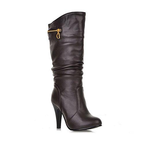 AdeeSu Girls Metal Ornament Comfort Wheeled Heel Shoes Brown Imitated Leather Boots - 8.5 B(M) - Snooki Short