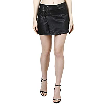 KIKA 100% Real Lamb Leather Comfortable Casual Cum Formal Wrap Around Skirt with Belt (Medium, Black) at  Women's Clothing store