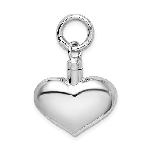 (925 Sterling Silver Puffy Heart Ash Holder Pendant Charm Necklace Love Puffed Fine Jewelry Gifts For Women For Her)