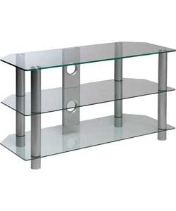 Clear Glass 42 Inch Rectangular Tv Stand Amazon Co Uk Musical