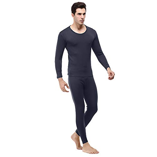 PASATO New Men's Winter Thermal Underwear Pure Color Suit Circular Collar Warm Clothing Set Hot Sale!(Navy,M=US:S) ()