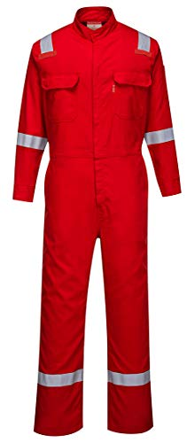 Red Coverall - Portwest FR94 Bizflame 88/12 Iona Flame Resistant Long Sleeve Overall Fire Retardant Workwear Coverall, Red, Large