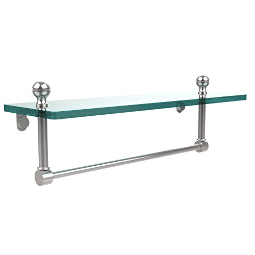 Allied Brass MA-1/16TB-PC Mambo 16 Inch Glass Vanity Shelf with Integrated Towel Bar, Polished Chrome