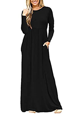 AUSELILY Women Long Sleeve Loose Plain Long Maxi Casual Dress with Pockets