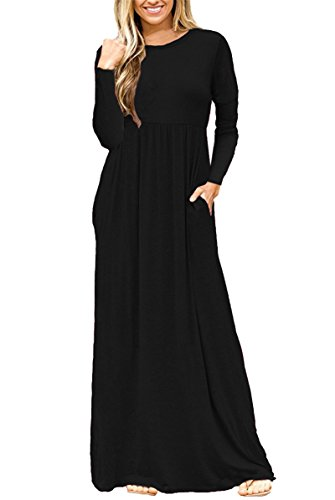 e8c710ac1 AUSELILY Women Long Sleeve Loose Plain Long Maxi Casual Dress with Pockets