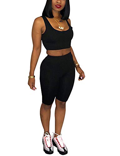 - Adogirl Sexy2PieceOutfitsSportJumpsuitTank Tops Tracksuit BodyconClubwear Black S