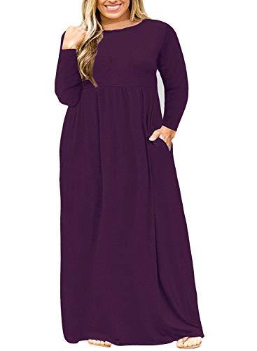 Nemidor Women Long Sleeve Loose Plain Casual Plus Size Long Maxi Dress with Pockets (Purple+Sleeve, 24W)
