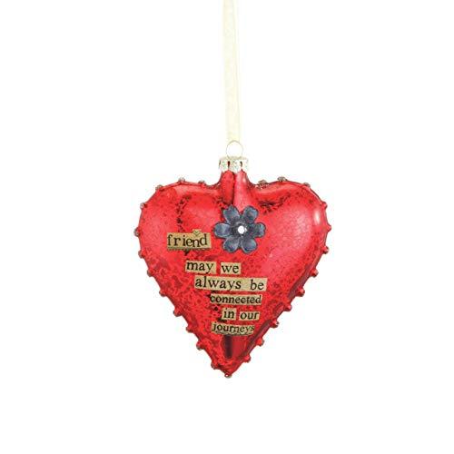 DEMDACO Seasons Friend Glass Heart Ornament - Christmas Friendship Ornament