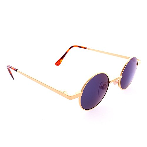 - Retro Round John Lennon Style Sunglasses - Gold Frame