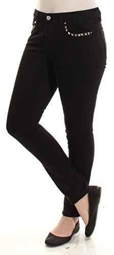 MICHAEL Michael Kors Womens Izzy Studded Classic Rise Skinny Jeans Black (Flare Studded Jeans)