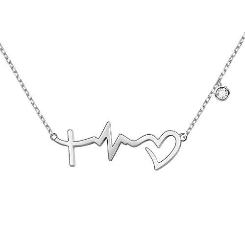 S925 Sterling Silver Faith Hope Love Cross Lifeline Heart Pendant Necklace Christian Jewelry Gifts for Women,18