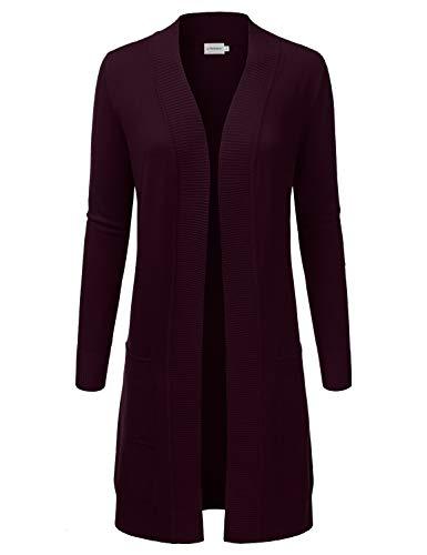 JJ Perfection Womens Light Weight Long Sleeve Open Front Long Cardigan Darkpurple M