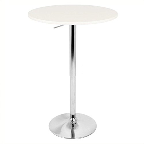 WOYBR BT-ADJ23TW W Mdf, Chrome Table Top Does Not Spin. Adjustable Bar (White Bar Height Table)