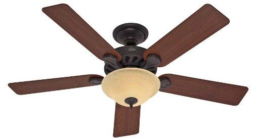 Hunter 53086 Five Minute Fan 52-Inch New Bronze Ceiling Fan with Five Dark Cherry/Medium Oak Blades and a Light Kit