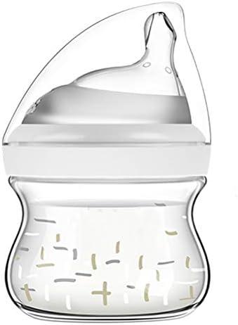 YUI Tragbare Babyflaschen,großem Durchmesser Explosionsgeschützte Glasflasche mit Y-förmiger Brustwarze, Hochtemperatur-Desinfektion Baby-Anti-Flatulenz-Entwöhnungsartefakt für Neugeborene