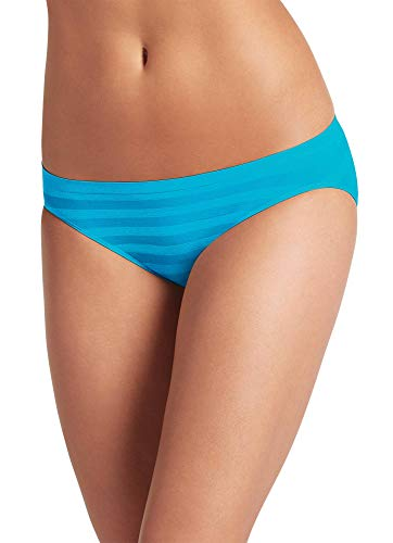 Jockey Women's Underwear Matte & Shine Seamfree Bikini, Blue Bay, 6
