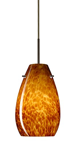 Besa Lighting 1JT-412618-LED-BR 1X6W GU24 Pera 9 LED Pendant with Amber Cloud Glass, Bronze Finish