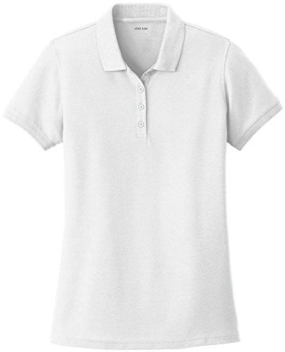 Joe's USA Ladies Core Classic Pique Polo-White-M