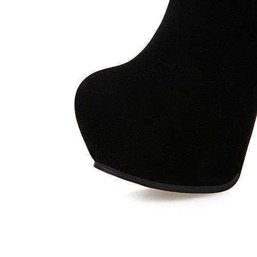 Amoonyfashion Dames Ronde Neus Gesloten Neus Hoge Hakken Laarzen Met Ritsen En Pailletten Zwart