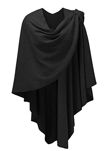 (Womens Large Cross Front Poncho Style Sweater Plus Sized Wrap Topper Black)