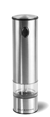 COLE & MASON Battersea Electric Salt and Pepper Grinder with LED Light - Electronic, Battery Operated Mill, Stainless - Stainless Steel Electric Pepper Mill
