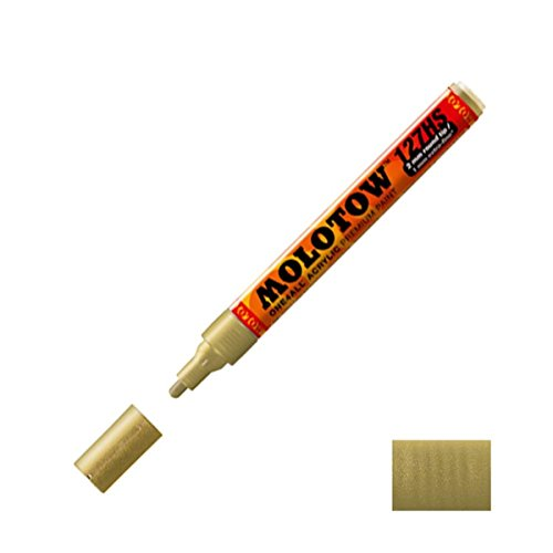 Molotow ONE4ALL Acrylic Paint Marker, 2mm, Metallic Gold, 1 Each (127.306)