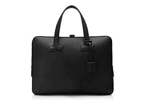 Tom Ford Men's Black Leather Double Face Top Zip Portfolio
