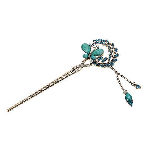 Retro Butterfly Love Rhinestone Fazan Palace step shake Hair Forks Blue W5K1