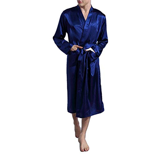 Unique Accappatoio 88 Da Kimono Seta Di Vestitino Uomo Notte Morbido Dunkelblau Bobo Lungo Camicia Stlie Robes gw5Tzgq