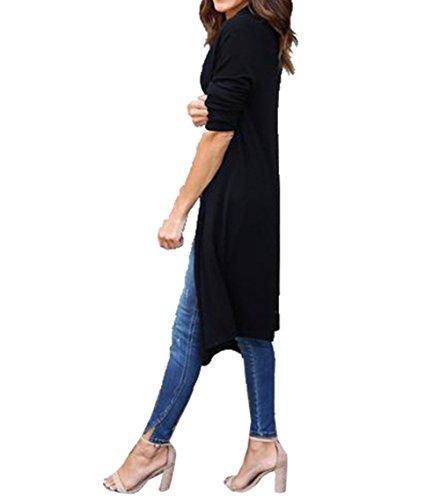 Andare e Autunno Lunga Mare Primavera per per Elegante per Maglione Maglia Donna Sweater Nero Ufficio Lungo Casa Cardigan Spiaggia Manica Cardigan Vacanza Bevalsa al q1axfw