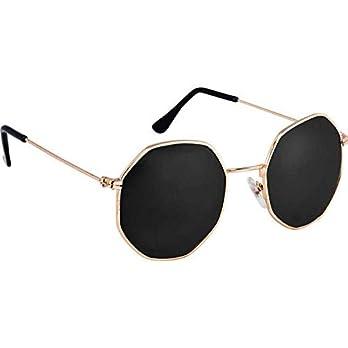 Dervin Golden-Black UV Protection Octagonal Sunglasses/Frame For Men & Women (Black, Small Size)