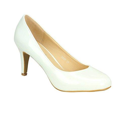 Klassische Damen Pumps Stilettos Abend Schuhe Party Hochzeit 33-2 Weiß ID