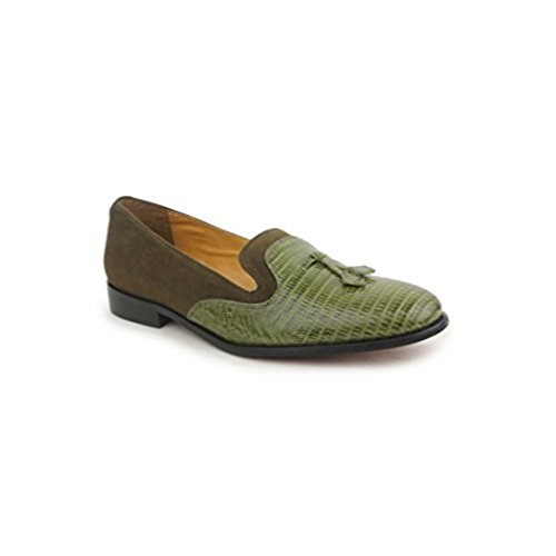 Medium Green Leather Footwear - Liberty Men's Handmade Padded Footbed Slip-On Loafer Shoes