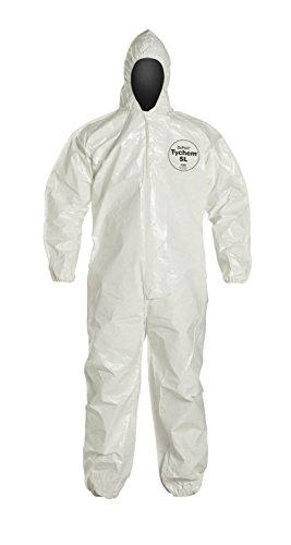 DuPont Tychem SL127B SL Disposable Coverall with Hood & Elastic Cuffs, White (Dupont Chemical Protection)