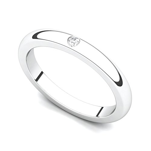 Bezel Diamond Wedding Band - 14k White Gold Bezel set Diamond Wedding Band Ring (G-H/SI, 0.03 ct.), 5