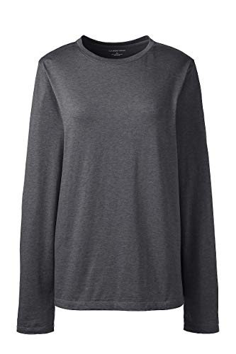 Lands' End Women's Petite Supima Cotton Long Sleeve T-Shirt - Relaxed Crewneck, L, Charcoal Heather