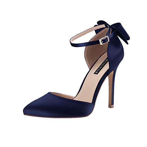 ERIJUNOR E1966A Women High Heel Bow Ankle Strap Evening Party Dance Wedding Satin Shoes Navy Size 9