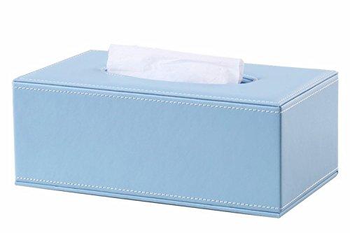 S Forever Home Decor PU Leather Kleenex Box Cover Rectangular Tissue Box Holders (Sky Blue) -