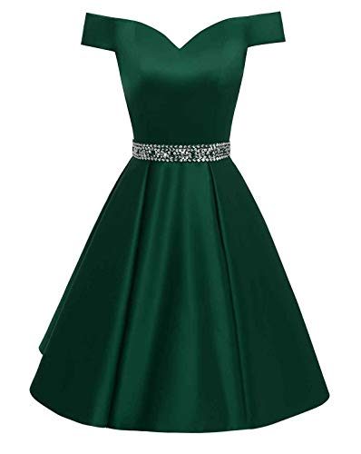 (Changuan Women's Short Beaded Prom Dresses Off The Shoulder Backless Homecoming Dress Dark Green-2 )