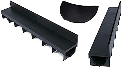 Clark Drain B125 PVC Block Paving Brick Slot Drain Channel Drainage 1m Lengths 2 End Caps 6