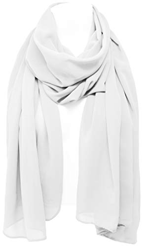 KMystic Soft Georgette Solid Chiffon Bridal Shawl Evening Scarf (White)