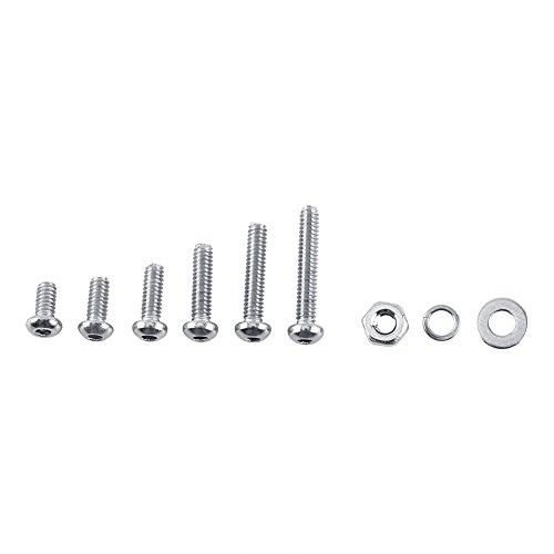 600pcs M2 304 Stainless Steel Hex Socket Screws Bolt with Hex Nuts Washers Assortment, Full Thread, Plain Finish(B: Button head) (Plain Bolt Kit)