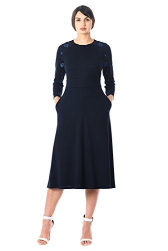 Sleeve Ponte Knit (eShakti Women's Logo Star Embellished Sleeve Ponte Knit Dress S-6 Regular Multi)