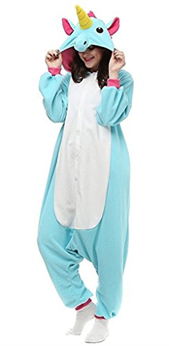 (Halloween Pajamas Unicorn OnePiece Onesie Cosplay Costumes Animal Outfit Loungewear, Blue-1, Size S for 59-62
