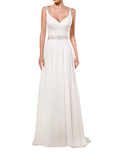 AbaoWedding® Women's Chiffon Lace Shoulder Straps Chapel Train Wedding Dress